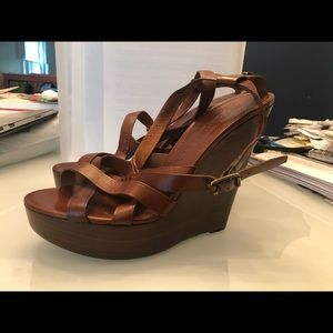 Burberry Brown leather wedges. Barely worn.